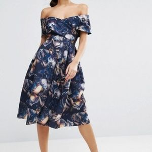 Asos floral fit and Flare off the shoulder dress